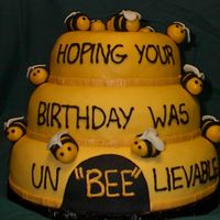 Bumble Bee Birthday  This is a picture of the cake I did for my friend at work. I saw a couple bee hives cakes on the site and decided to try it out since they...