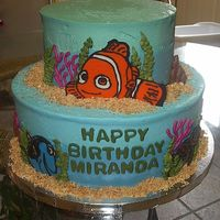 Nemo   Cake for my niece's birthday. Two-toned icing (WBH) and Chocolate transfers for the characters (first time). Thanks for looking!