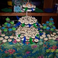 Peacock/music Theme 140 cupcakes made with buttercream icing. The theme was music because the groom is a musician and the bride wanted peacock also in the...