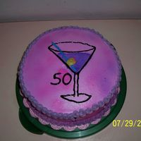 50Th Birthday Cake   Buttercream Icing with piping gel for the outilne on the martini glass and then sprayed with the wilton food color mist