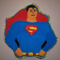 Superman  1977 DC comics Superman. This one was a little difficult because the original cake pan comes with a plastic face and superman symbol. I had...
