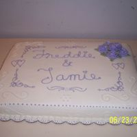 Bridal Shower Cake 12x18 sheet cake, all bc icing, I used push stencils for the scroll work and free handed the lettering ( im not that good at the writing...