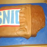 Snickers Bar Cake was a snickers cake with peanuts and caramel in it. Candy bar was covered in chocolate BC and wrapper was homemade mmf.