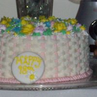 Basket Weave This is a 98th birthday cake for one of my friends mother. I hope she likes it. Sorry this is a little blurry!