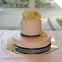 Bridal Shower Cake Thanks to many CC inspirations., this is my creation for a black and white bridal shower with a little bling. White cake, raspberry torke,...