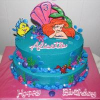 Little Mermaid Cake This cake served 75. The characters are royal icing transfer painted with lusterdust to give some dimension. decorated with royal icing...