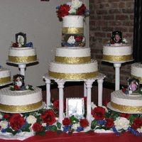 Wedding Cake Colors were Red, White, Blue and gold with silver accents. Came out better than I though it would. Very easy design,(thank goodness!)