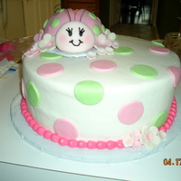 Lady Bug 1St Birthday I loved doing this cake!! I also made a cupcake boquet with a matching pot to go with the cake.