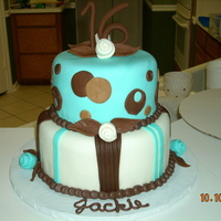 Sweet 16 MMF covered cake with gumpast/fondant 16 on top. I loved the color scheme of this cake!