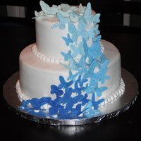 Blue Butterfly Cake This was for a bridal shower- the bride to be LOVES butterflies and her wedding colors are blue and silver. Covered in buttercream with...