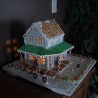 Gingerbread House Front view of my house made from gingerbread. Sorry it's a little dark.