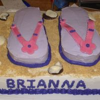 Flip Flop Birthday Cake I wasn't happy with this cake. I used leftover fondant and it cracked and broke. I didn't smooth my icing enough and I should...