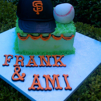 Sf Giants Cake Cap and Baseball are RKT covered in Fondant