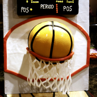 Basketball Cake The score board is rice krispy treats covered in black fondant with fondant, royal icing and modeling chocolate for letters and numbers....