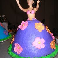 Tropical Theme Doll Cake   Buttercream frosting and fondant accents..