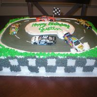 Nascar Racecar Cake   This is a nascar cake for my sons birthday...He wanted to put the real cars on there :) and have one wreck into the wall :)
