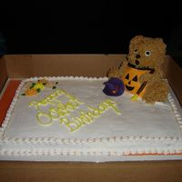 Pumpkin Bear   Big bear cake pan...frosted in buttercream..with fondant broom & hat