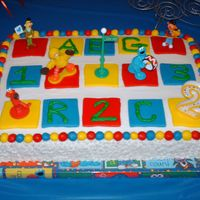 Reagan's Birthday Cake Made for the 2nd birthday of my friend's daughter. Goes w/ the R & 2 coolies.. Blocks and ball border are MMF. Vanilla cake and...