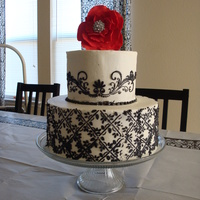 Black & White Shower All buttercream. This was not a cake stencil and it didnt hold up very well to the buttercream. I think it would have worked better with...