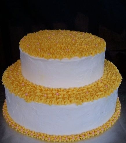 "First Stacked Cake Practice Cake - Base is two 9"" Betty Crocker ""Starlight"" Yellow cakes with Chocolate Peanut Butter Fudge filling, top is two..."