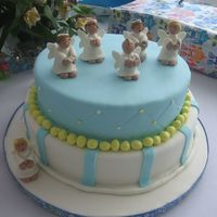 Baptism Inspiration Cakes_060. Vanilla cake with dulce de leche filling. Everything else is MMF. TFL