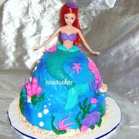 "The Little Mermaid used my pampered chef bowl as makeshift wondermold, 9"" bottom tier, white cake, chocolate skirt, blue buttercream icing lightly..."