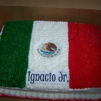 "Mexican Flag  9x13in (half vanilla/milk chocolate) Made this for a neighbor's b-day -this pic is taken pre-candles. We later added ""Happy..."