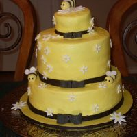 Bumble Bee this was a try at the anne geddes bumble bee cake. Bottom tier was white cake,middle was chocolate and the top was an individual cake for...