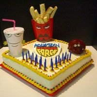 Aqua Teen Hunger Force Cake For My Boyfriend this was for my bf's 22nd b-day. My sister helped me a WHOLE lot. I did the plaque in the middle out of royal icing and I did the...