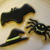 Halloween Cookies We were foolin' around with cookie cutters to find some that were good for halloween and we came up with this. I iced them with the...