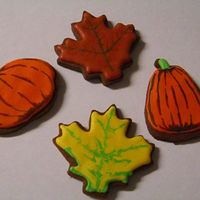Fall Cookies These were just for fun. My mom, sister, and I were trying different things with maple leaves and pumpkins. These were the only one's...