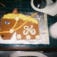 0318052-R1-048-22A.jpg My horse lover daughter's 10th birthday. Yellow cake, chocolate buttercream, MMF flowers, and some clay candy decorations.