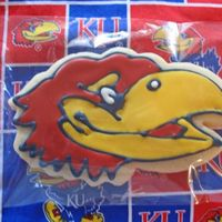 University Of Kansas Jayhawks Made these KU cookies for a friends birthday. This was a little hard to do because I graduated from K-State! All in the name of friendship...