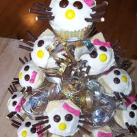 Hello Kitty Cupcakes Found picture on Japanese website of these. Sugar wafer cookies cut for ears, the Asian stick cookies dipped in chocolate (found in most...