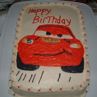 Lightning Mcqueen I made this cake for my son's 4th birthday. He picked out the picture he wanted on the cake. I took it and did the gel transfer.