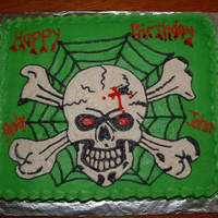 Skull And Crossbones   I made this cake for my 9yr. son and 15yr. nephew's birthday.