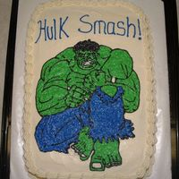 Hulk   My son wanted the Hulk for his 7th birthday. We went online and found this pic and I used the gel transfer to get it on the cake.