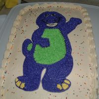 Barney My son loves Barney so I made him this cake for his 3rd birthday.