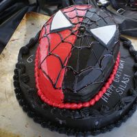 Spiderman / Venom Our mouths were black for a week after we ate this cake. Lol, so maybe I'm overexaggerating. Just a simple carved cake on top of a 10&...