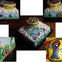 Mario_Cake.jpg For my 7yo cousin. He wanted Mario and Luigi, so I did this Super Mario World themed cake. I wish I knew how to make a photo collage so you...