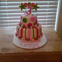 "Birthday Cake For Camryn   White Choc 10"" with Fudge 6"", buttercream and MMF."