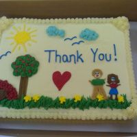 Teacher Appreciation #1  Sheet cake for teacher appreciation at my son's school. Cake is white chocolate with strawberry filling and buttercream dream. I got...