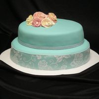 Tiffany Blue Wedding Shower This cake was made for a friend who was hosting a bridal shower. The colors were tiffany blue, brown and pink but I chose to leave the...
