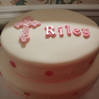 Riley's Baptism   All fudge with chocolate chip buttercream filling and white choc MMF