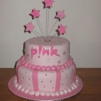 Pink   birthday cake for my friends daughters 16th. Caramel mud bottom, marbled butter cake on top. covered in fondant