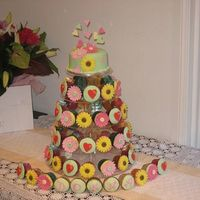 Floral Tower Birthday Cake gerberas sunflowers and hearts