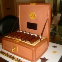 Cigar Humidor Carved cake covered in MMF, with RKT cigars.