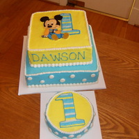 Baby Mickey Baby Mickey cake for a 1st birthday - cake designed to match the party napkins. TFL!