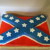 'rebel' Flag 9x13 bottom layer with carved 9x13 on top. BC with fondant stars. TFL!