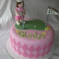 100Th Birthday 8 inch cake with fondant for a lady turning 100!!! She was a golfer in her day.